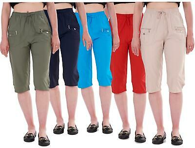 Ladies Cropped Trousers Rich Cotton Elasticated Zip Pockets Women Capri M To 3XL • 10.95£