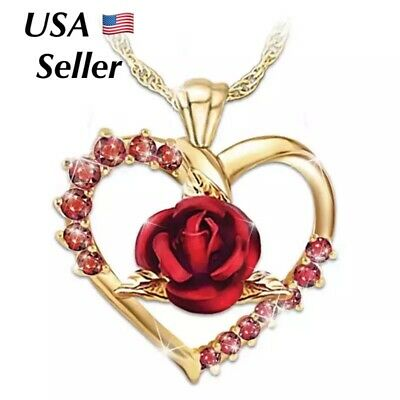 $6.99 • Buy Heart Red Cubic Rose Flower Pendant Necklace Gold Plated Girlfriend Wife  N104