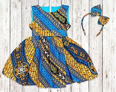 Girls African Print Kente Dress, From Size 0 Months - 14 Years • 30£