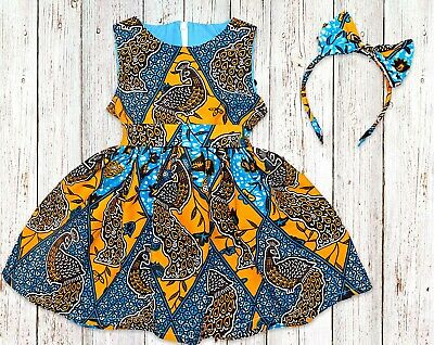 Girls African Print Kente Dress, From Size 0 Months - 14 Years • 26£