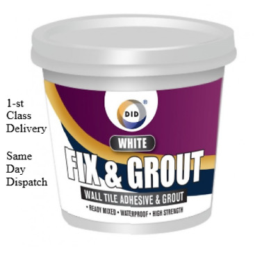 Fix & Grout Wall Tile Adhesive&Grount Anti-Mould Ready Mixed 500ML Bucket- White • 6.89£