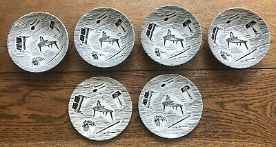 Homemaker 'Woolworth's' 1950's Black And White Plates • 30£