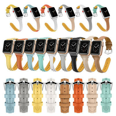 AU13.34 • Buy 38/40/42/44mm Slim Genuine Leather Band Strap For Apple Watch Series 6 5 4 3 SE