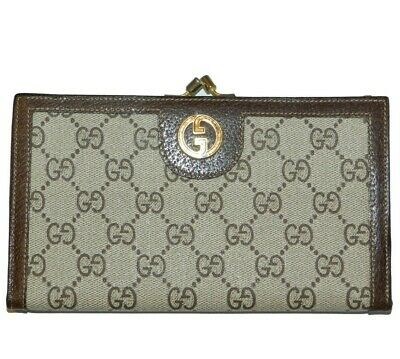 $150 • Buy Vintage GUCCI Italy Long Wallet GG Monogram Coated Canvas Brown Leather