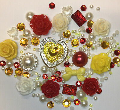 20g YELLOW/RED+CREAM Pearls/Roses/Gems Flatback Kawaii Cabochons Decoden Craft • 2.99£