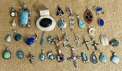 $ CDN109.41 • Buy HUGE LOT 925 STERLING SILVER SMALL PENDANT CHARMS NATIVE AMERICAN TURQUOISE 169g