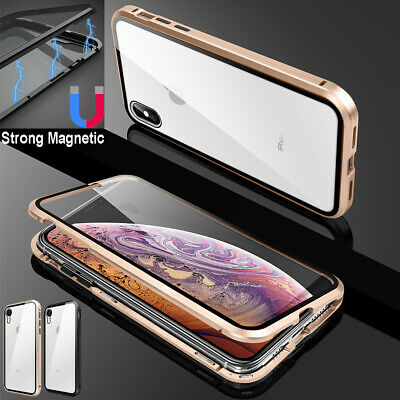 AU12.99 • Buy For IPhone 12 11 Pro XS Max XR 7 8 Plus Metal Magnetic Case Tempered Glass Cover