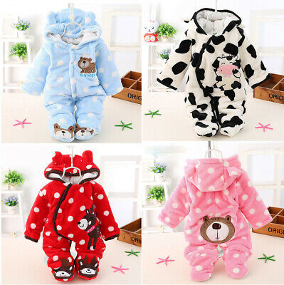 AU18.04 • Buy Newborn Infant Boy Girls Winter Warm Hooded Jumpsuit Baby Romper Clothes Outfits