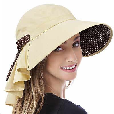 $13.98 • Buy Wide Brim Sun Hats For Women UV Protection Cap Beach Fishing Hat Flap Neck Cover