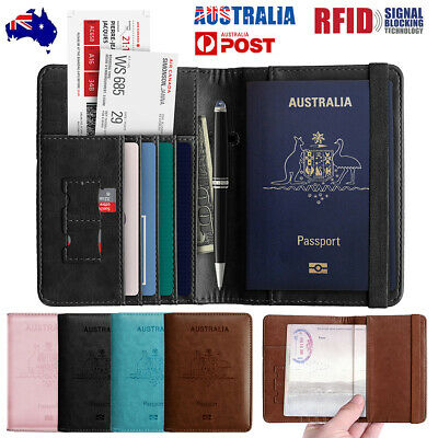 AU10.99 • Buy Slim Travel Passport Card Wallet Holder Cover RFID Blocking Leather Purse Case