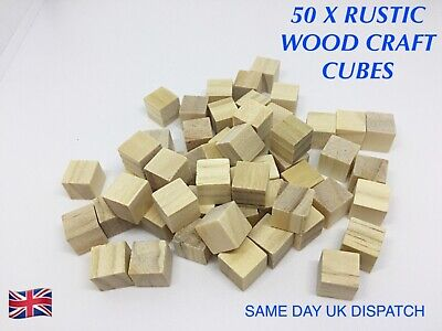 50 X NATURAL WOODEN BLOCKS CUBES WOOD CRAFT SQUARE DIY CRAFTS TOYS 10mm X10mm  • 2.99£