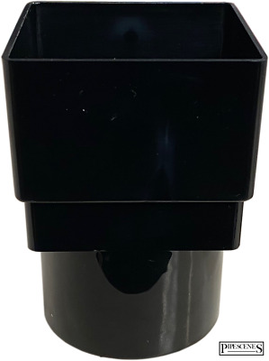 £6.10 • Buy Gutter Down Pipe Rainwater 65mm Square To 68mm Round Adapter - Black Drain Pipe