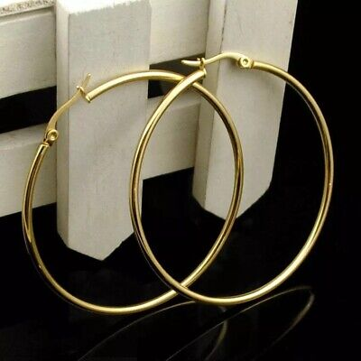 $8.75 • Buy 18K Gold Plated Round 50mm 2  Large Big Hoop Earrings Stainless Steel E51