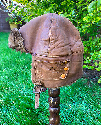 Ww1 Rfc Mk 1 1917 Issue Leather Flying Helmet,conker Brown Original.rare • 275£