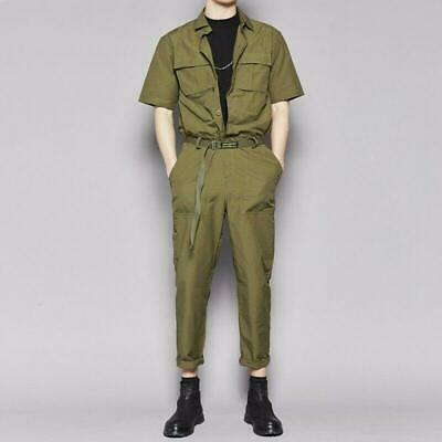 $137.99 • Buy Mens British Style Cargo One Piece Jumpsuit Trousers Pants Short Sleeve Coverall