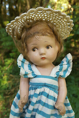 $32 • Buy Vintage Composition 8  Doll With Brown Painted Eyes