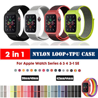 $ CDN5.95 • Buy 40/44mm Nylon Sport Loop+Case IWatch Band Strap For Apple Watch Series 6 5 4 SE