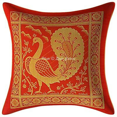Dancing Peacock Indian Cushion Cover Red Brocade Pillow Case Cover Throw 12  • 7.83£
