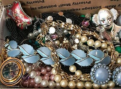 $ CDN26.93 • Buy Vintage - Now Junk Drawer Jewelry Lot Wearable Rhinestone Thermoset Cloisonne ++