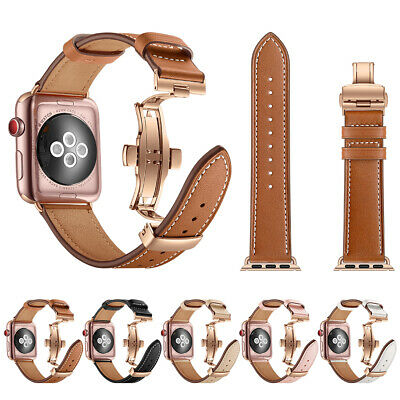$ CDN22.51 • Buy 38/42/40/44mm Butterfly Buckle IWatch Leather Band Strap For Apple Watch 5 4 3 2
