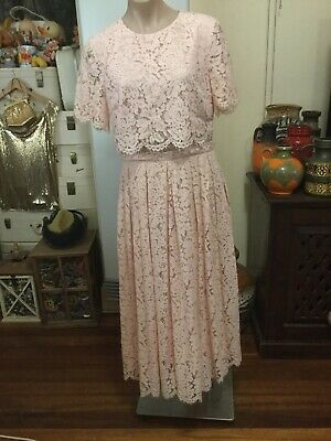 AU40 • Buy ASOS Pink Lace Maxi/ankle Length Dress Short Sleeves Size UK 14 BNWOT