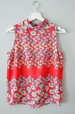 £3 • Buy  CLEARANCE Ex Nxt 6-18 Red Floral High Roll Neck Dip Hem Summer Holiday Top Vest