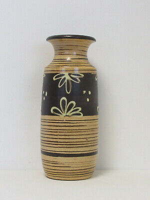 Retro West German Scheurich 239-41 Large Ceramic Brown Flower Design Floor Vase • 34£