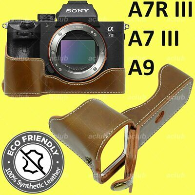 $ CDN25.16 • Buy Sony A7 III A7R III A9 ILCE-9 7M3 7RM3 PU Leather Half Case Cover - Brown