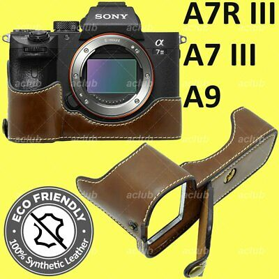 $ CDN25.16 • Buy Sony A7 III A7R III A9 ILCE-9 7M3 7RM3 PU Leather Half Case Cover - Coffee Brown
