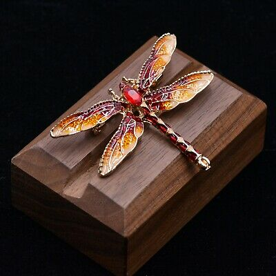 £4.95 • Buy Enamel Plated Dragonfly Brooch Pin, Fire Red And Green Dragonfly