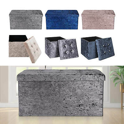 Top Folding Storage Ottoman Seat Toy Storage Box Folding Seat Crushed Velvet • 15.39£