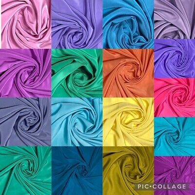 Premium Quality French Crepe De Chine Crepe Dyed Fabric 44'' 100% Polyester • 3.99£