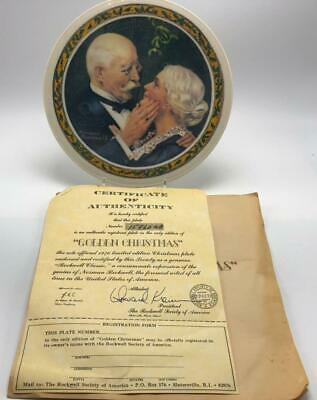 $ CDN9.69 • Buy Norman Rockwell  Golden Christmas  Mistletoe 1976 Collectible Plate Knowles