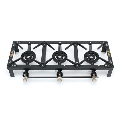 £46.99 • Buy Triple Burner LPG Gas Cooker Cast Iron Boiling Ring 15 Kw/ Camping, Catering