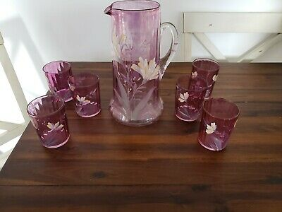 $25 • Buy Victorian Cranberry Water Set Pitcher 6 Glasses Flowers