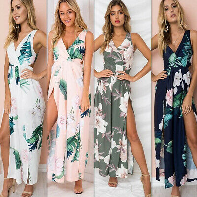 AU10.79 • Buy Women Boho Floral Long Maxi Playsuit Cocktail Holiday Summer Jumpsuit Romper New
