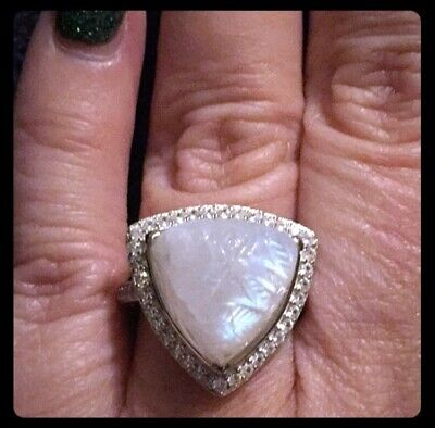 $60 • Buy Carved Rainbow Moonstone Cocktail Ring, 925 Sterling Silver, Size 8