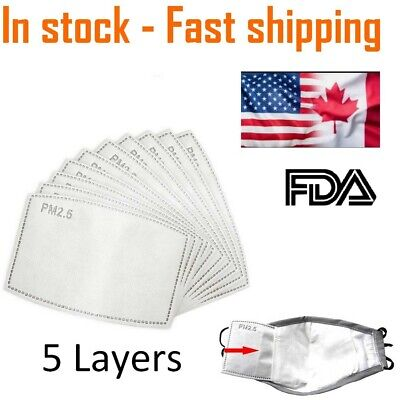 $ CDN8.99 • Buy Activated Carbon Filters Replacement - PM2.5 Face Mask Filter 5 Layers -In Stock