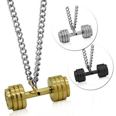 $14.27 • Buy Necklace With Dumbbell Pendant Steel Curb Chain Weight Gym Men Muscle Fitness