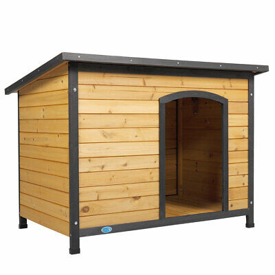 $127.99 • Buy 43  Outdoor Deluxe Slant-Roofed Wood Large Dog Pet House Kennel W/Open Entrance