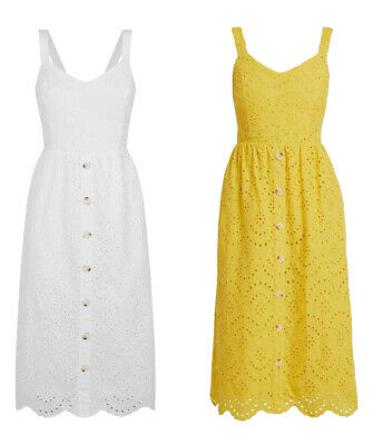 £17.99 • Buy New Look White & Yellow Broderie Button Front Summer Holiday Midi Casual Dress