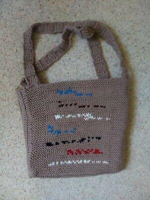 £8.95 • Buy Quirky Taupe Hand Knit Shoulder Bag