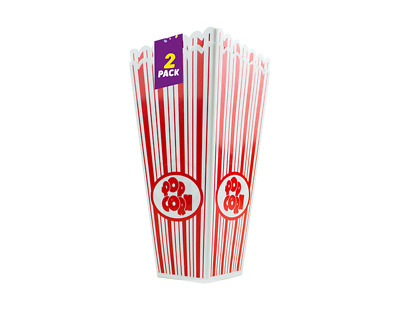 Plastic Popcorn Holder - 2 Pack - Movie Film Night Retro Red Stripes Treets Food • 4.95£