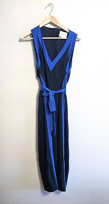 $20 • Buy Anthropologie Elevenses Becas Jumpsuit Sz 6 Crop Wide Leg Tuxedo Stripe Blue