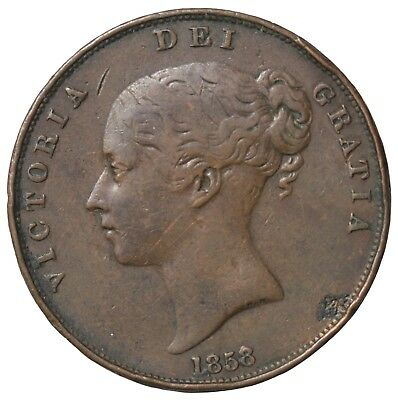 $44 • Buy 1858 Over 7 Great Britain One Penny KM#739 Queen Victoria Coin 1858/7
