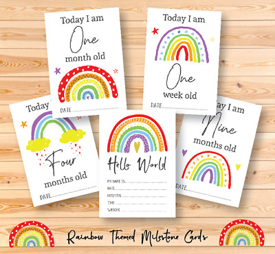 Bright Rainbow Baby Milestone Cards • Baby Shower Gift • New Baby Gift • Cards • 4.99£