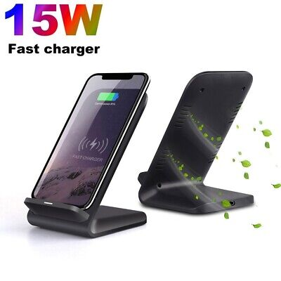 UK 15W Fast Qi Wireless Charger Charging Dock Stand For IPhone 12 Pro Max XS 11 • 8.99£