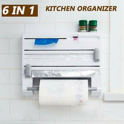 AU28.99 • Buy 6in1 Wall Mounted Kitchen Rack Towel Holder Foil Roll Organizer Film Dispenser