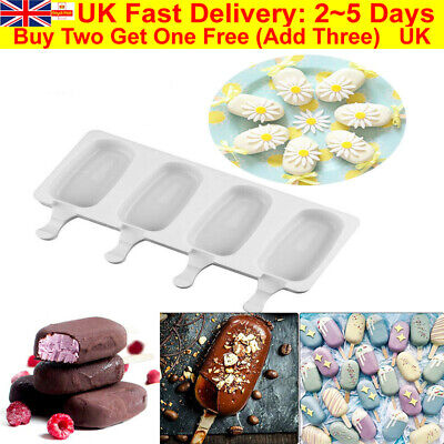 4Cell Frozen Ice Cream Pop Mold Popsicle Maker Lolly Cake Mould Tray Pan Kitchen • 4.99£
