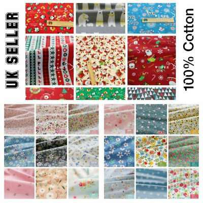 100% Cotton Christmas Fabric 160 CM Wide Metre For Sewing Quilting Face Masks UK • 2.99£